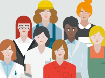 Viele Frauenberuf in einer Illustration