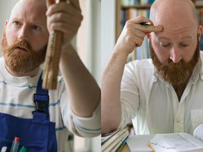 Mann handwerkert und lernt